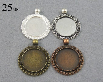 25 Pieces 25mm Sunflower Pendant Setting, Pendant Blanks, 25mm Cabochon Settings  - Silver, Bronze, Copper, Antique Silver