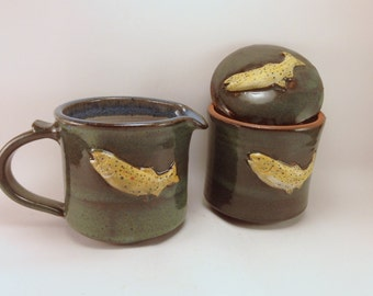 Brown Trout Cream & Sugar Set with Floating Blue Glaze