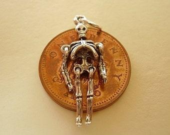 Sterling Silver Moving Skeleton Halloween Charm