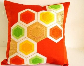 Beautiful Vintage Japanese Kimono Obi Cushion cover**Orange Hexagon_1**