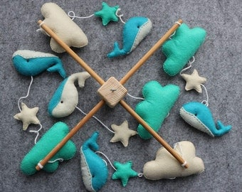 Turquoise Baby Mobile, Crib Baby Mobile, Hanging Baby Mobile, Whales and Clouds Baby Mobile,  Dolphins Baby Mobile READY TO SHIP