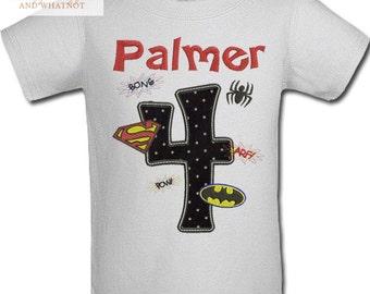 Superhero Birthday Shirt - Spiderman shirt - Superman Birthday - Batman Birthday - Boy Superhero Shirt - Superhero Birthday Shirt - Batman