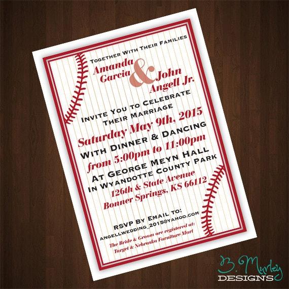 Baseball Themed Wedding Invitation Printable