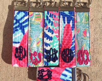 Monogrammed Lilly Pulitzer Fabric Key Fob / Key Chain - Regular Size