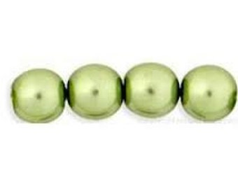 Glass Pearls - Olive - 4 Sizes
