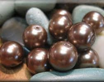 END OF LINE Glass Pearls - 6mm - Pack 100 - Cinnamon