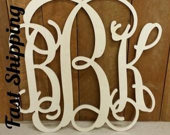 Wooden Monogram - Ready to Paint Vine Script Monogram - Monogram Wedding Guest Book - Monogram Wall Hanging - Monogram Door Hanger