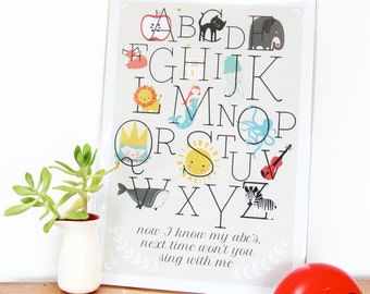 Alphabet print, Learn your abc's, Art print, nursery art, kids poster, home decor