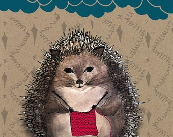 Card knitting Hedgehog on kraft paper.