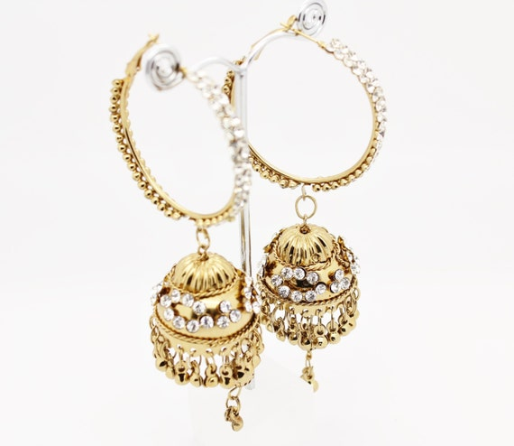 Long Gold Amp Silver Diamante Work Ram Leela Hoop Jhumka By