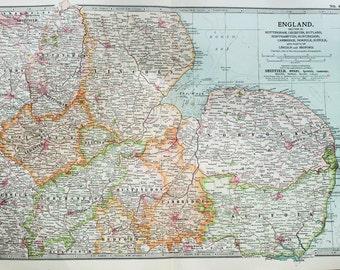 Antique Map : Eastern England, East Anglia. Encyclopedia Britannica, 1890s (8)