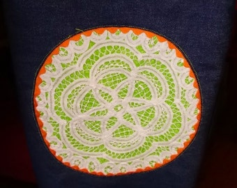 Tote Bag - Dark Blue Denim and Orange and Lime Green Tote Purse Shopping Bag with Doily and Rick Rack Detail