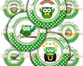 St. Patrick's Day Bottlecap Images. DIGITAL. Chevron and Polka Dot 5 Different Designs. Digital Collage Sheet. 1 Inch Printable Circles 101