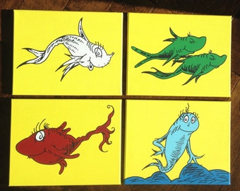 """One Fish, Two Fish, Red Fish, Blue Fish on YELLOW inspired by Dr. Seuss: Set of 4 canvases - each 11"""" x 14"""""""