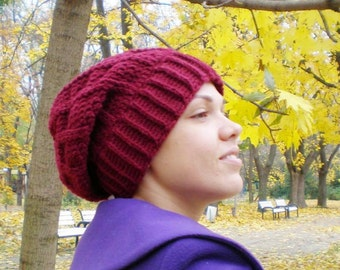 Teenage Hat, Women  Wool Winter Hat,  Wine Color Crochet Hat,  Men Slouchy Cap,  Thick Wool  Fashion  Beanie