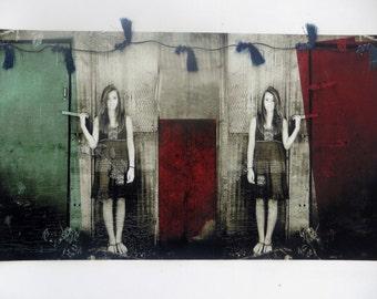 Fine Art Giclee Print of Original Mixed Media Photograph, 8x10 Doors x 3