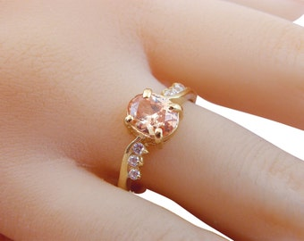14K Promise Ring champagne stone Gold filled ring women jewelry multistone ring