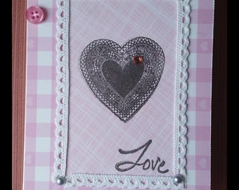 Pretty pink buttoned loveheart I love you card