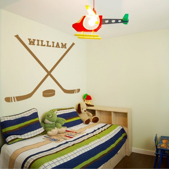 Hockey Wall Decal Large Decal Custom Name Decal Boys: Hockey Decal With Custom Name Hockey Sticks Decal Kids Room