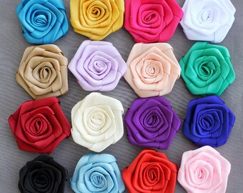 5 Silk Rolled Rose Flower Rolled Rosette Satin Rolled Rose Flower Fabric Flower Bride Hair Accessory Free Shipping 20USD SF997
