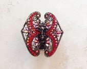 Red  High Quality Crystals Rhinestone Metal Hair Jaw Clip Holiday Gift