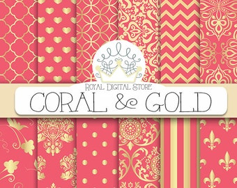 "Coral digital paper: ""CORAL AND GOLD"" with coral scrapbook paper, coral pattern, coral printable, coral wedding paper, instant download"
