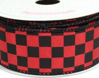 "1 1/2"" Black Checkered Ribbon - Red - 10 Yards"