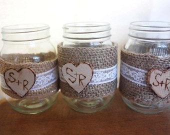 Mason Jar, Burlap and lace Mason Jar Set of 3, Rustic wedding decor, Lace  Mason Jar, Burlap wedding, burlap and lace,