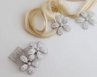 Flower crystal hair combs and barrettes