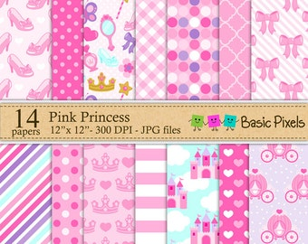 Pink Princess Digital Paper - Backgrounds - Personal and commercial use