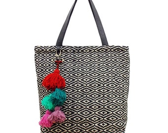 SALE Tote Bag Black Diamond Woven by Hand by Women Fair Trade Artisans in Peru