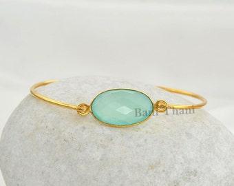 Aqua Chalcedony Gemstone Bracelet - Gold Plated Silver Bracelet - Gift Jewelry - Sterling Silver Bangle Bracele, 12x20mm  #1287