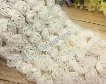 Lace Trim Fabric Bridal Chiffon Lace Trim Grenadine 3D Wedding Mesh 6 Rows Trim  1 yard/5 Yards/10 yards YTA36 -White Pick Quantity