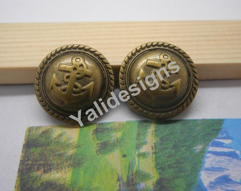 U Pick Handmade Plastic buttons,  Antique Bronze Anchor Button Round Button 21mm YTB46