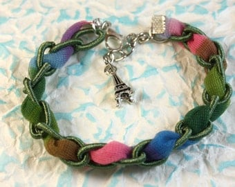 Cloth chain bracelets with colored tulle and charm