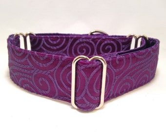 1.5 inch or 2 inch Martingale Collar, Purple Brocade Swirls Fabric Martingale Collar, Greyhound Dog Martingale Collar