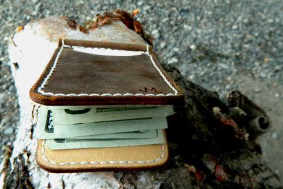 Mens Wallet, Money Clip, MADE IN ALASKA leather wallet, Inside out, Minimal leather wallet, high quality leather wallet, mens leather bifold