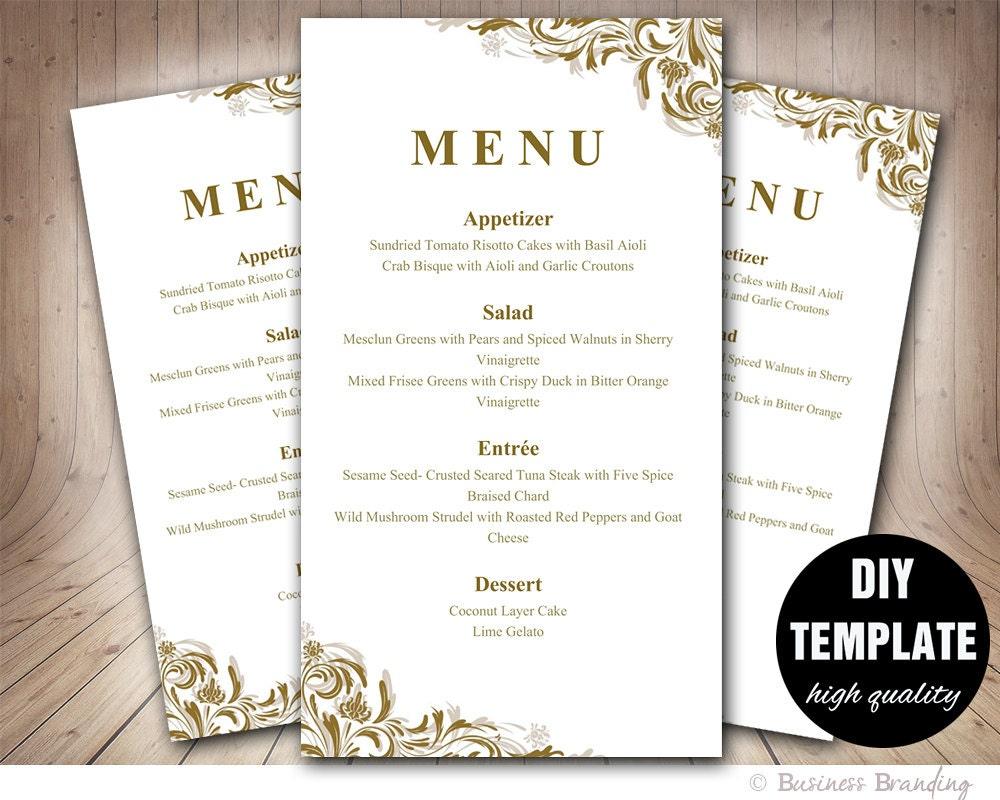 antique gold menu template diy wedding menu by businessbranding