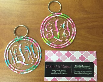 Bordered Vine Lilly Pulitzer Inspired Keychain
