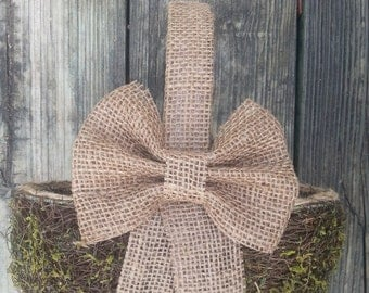 Burlap WEDDING BASKET Flowergirl Woodland Wedding Basket Rustic Wedding Country Wedding Basket