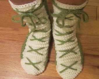 Slipper Socks-Booties: Hand crochet in acrylic yarn. These cute booties are just what the doctor ordered to keep your footsies comfy & warm.