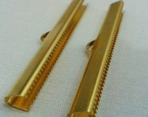 10 Pcs Raw Brass 6 x 50  mm Ribbon Clamps ,Clasp , Findings