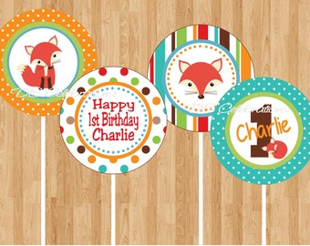 Red Fox Printable Cupcake Toppers - DIY Digital Birthday Party Decorations party circles