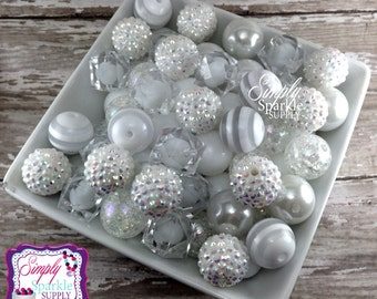 White Bulk Wholesale lot 100 chunky bead  mix solids dots and rhinestones 20 mm wholesale chunky beads