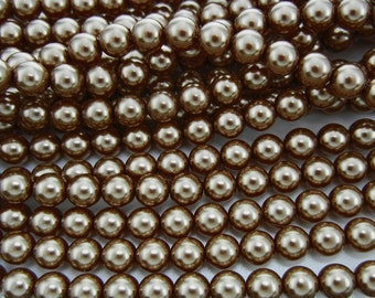 Brown Pearl, Czech Round Glass Imitation Pearls in 2mm, 3mm, 4mm, 6mm, 8mm, 10mm, 12mm