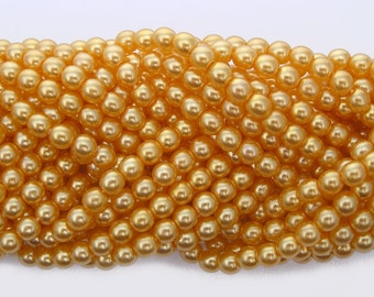 Golden Pearl, Czech Round Glass Imitation Pearls in 2mm, 3mm, 4mm, 6mm, 8mm, 10mm