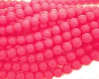 Pale Pink Neon Pearl, Czech Round Glass Imitation Pearls in 2mm, 3mm, 4mm, 6mm, 8mm, 10mm, 12mm
