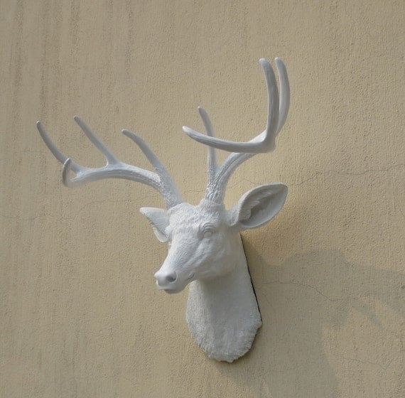 Plastic Deer Head Wall Decor : White faux deer head resin wall decor