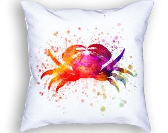 Crab Throw Pillow, 18x18, Cushion Home Decor, Gift Idea, Pillow Case