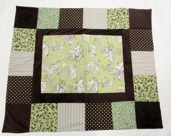Green & Brown Baby Girl Blanket/Quilt